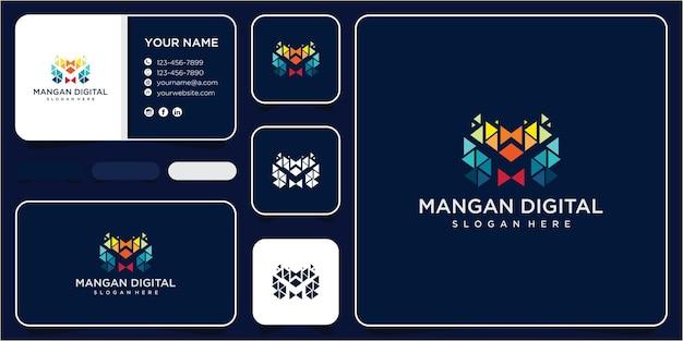 Буква m технология дизайна логотипа вдохновение. буква m концепция дизайна цифрового логотипа