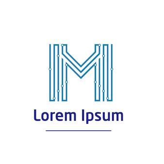 Letter m technology logo