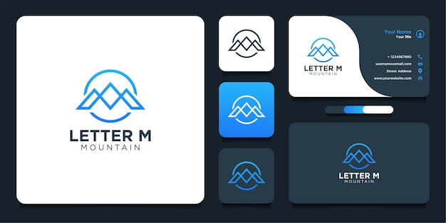 Letter m template logo design with mountains and business card