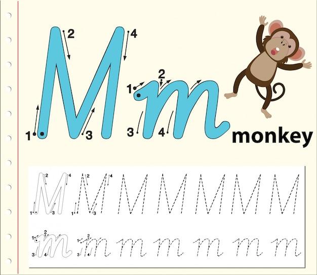 アルファベットのワークシートをトレースするmの文字