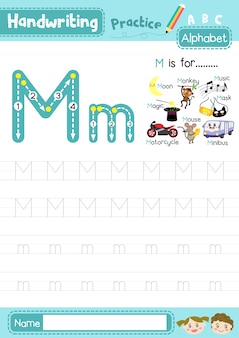 Mの大文字と小文字のトレース練習ワークシート