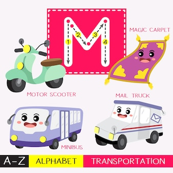 Letter m uppercase tracing transportations vocabulary