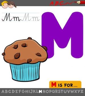 漫画のマフィンのスウィートケーキを使った手紙m