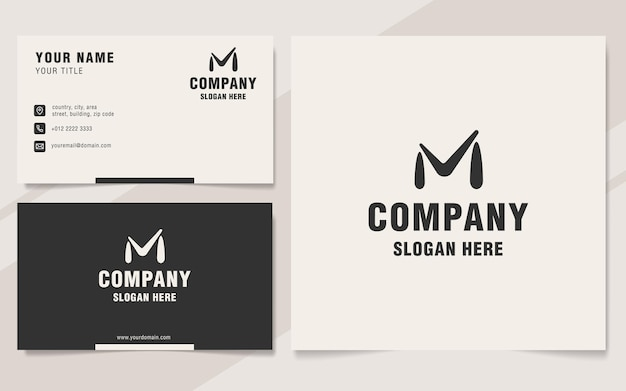 Letter m with check mark abstract logo template on monogram style