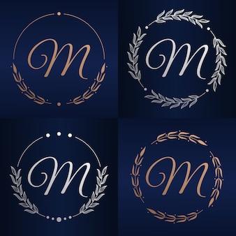 花のフレームのロゴのテンプレートと文字m