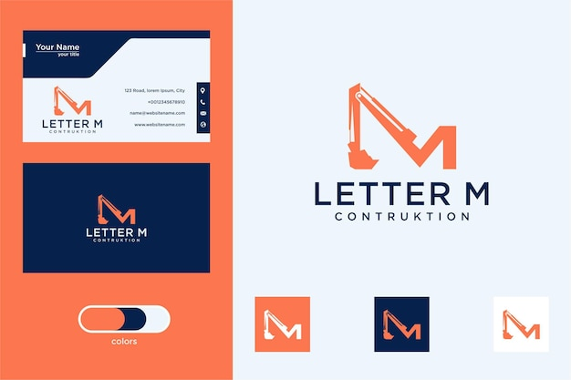 Буква м с дизайном логотипа тяжелого оборудования и визитной карточкой