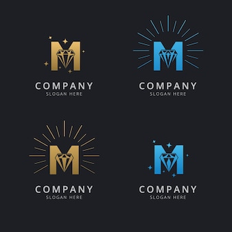 豪華な抽象的なダイヤモンドのロゴのテンプレートと文字m
