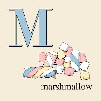 Letter m with marshmallow. english alphabet with sweets.