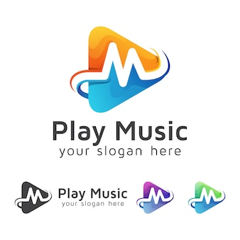 Letter m with media player music logo, video play logo design vector template