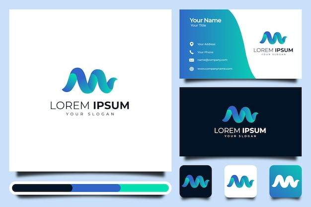 현대적인 색상 창조적 인 로고 템플릿 및 명함 디자인 편지 m.