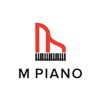 ピアノ音楽と文字mシンプルで創造的な幾何学的な洗練されたモダンなロゴデザイン