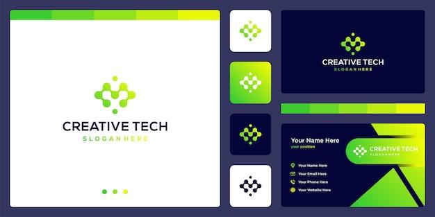 기술 스타일과 그라디언트 색상이 있는 문자 m. 명함.