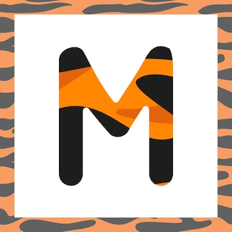タイガーパターンのお祝いフォントとオレンジからのフレームと黒のストライプのアルファベット記号の文字m ...