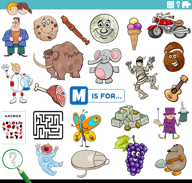 Letter m words educational task for children