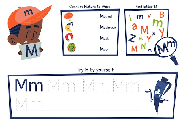 Modello di foglio di lavoro della lettera m.