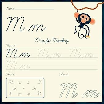 Foglio di lavoro lettera m con illustrazione di scimmia