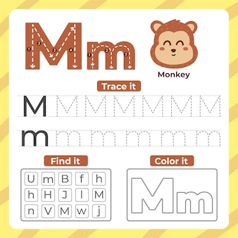 Letter m worksheet with monkey