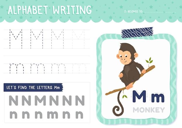 Foglio di lavoro lettera m con scimmia