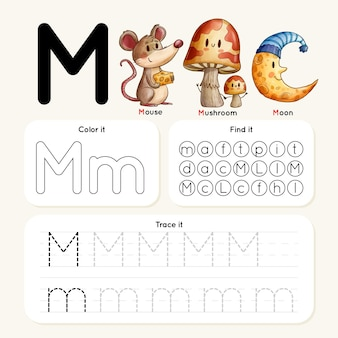 Letter m worksheet with mouse, mushroom, moon