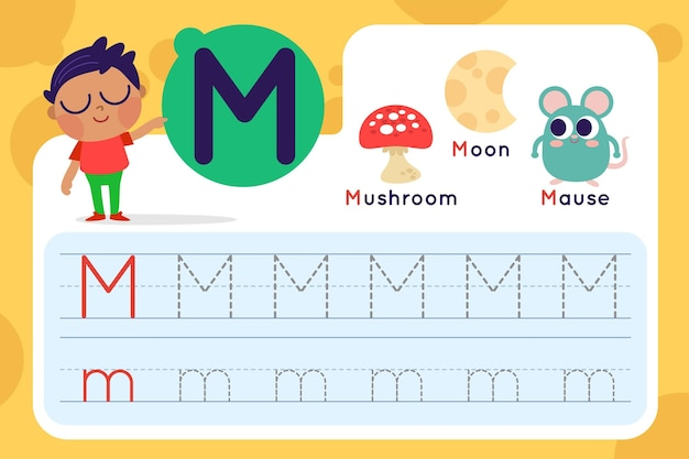 Letter m worksheet with mushroom and mouse