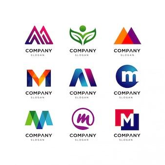 Коллекция шаблонов дизайна логотипа letter m