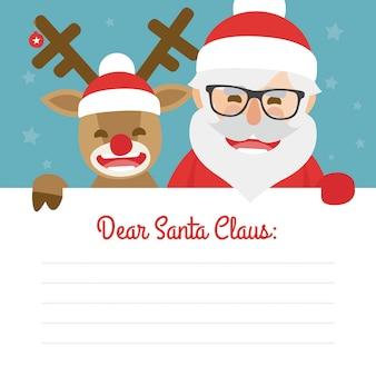산타 클로스와 파란색 배경에 빨간 코 순록의 편지 메리 크리스마스 일러스트
