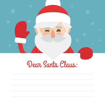 Letter merry christmas illustration of santa claus on blue background. dear santa claus