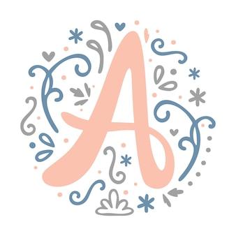 ' a ' letter monogram design - feminine alphabet, cute, floral, decorative font