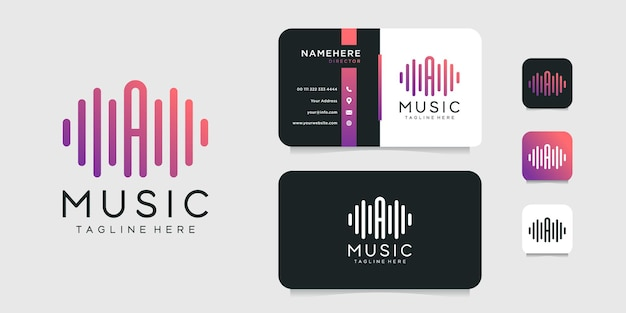 Letter a music logo and business card   design template.