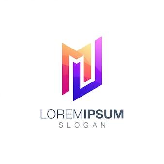 Letter mw gradient color logo design