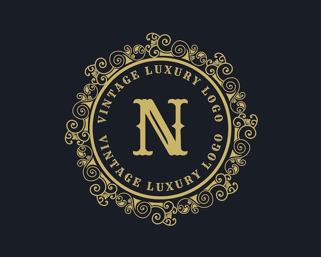 文字nアンティークレトロラグジュアリービクトリア朝の書道のロゴ