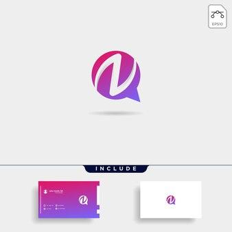 편지 n 채팅 로고 템플릿 벡터 디자인 메시지 아이콘