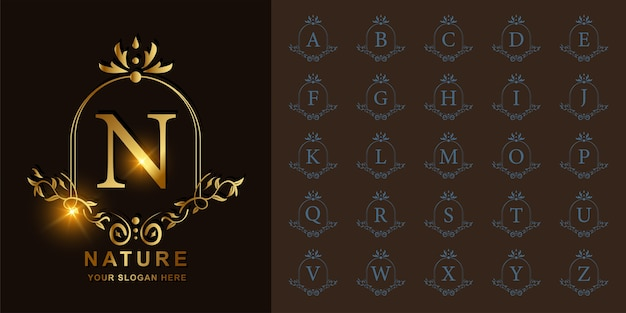 Letter n or collection initial alphabet with luxury ornament floral frame golden logo template.