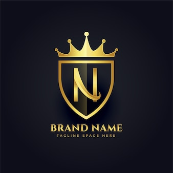 Letter n crown golden premium logo design
