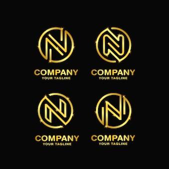 手紙nデザインのロゴのテンプレート