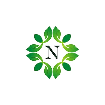 Letter n 플로럴 모노그램 로고