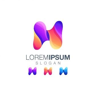 Letter n gradient color logo design