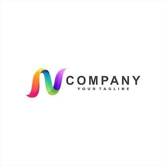 Буква n градиентный дизайн логотипа Premium векторы