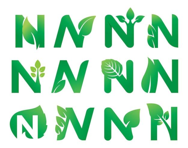 Letter n leaf logo design