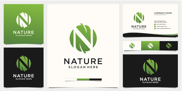 Буква n лист логотип с шаблоном дизайна визитной карточки