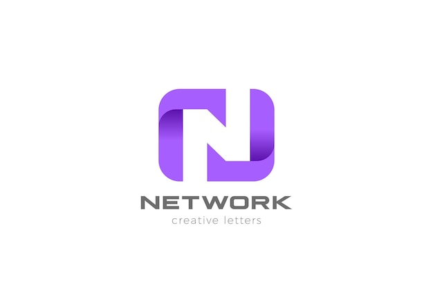 Letter n logo design. negative space style.