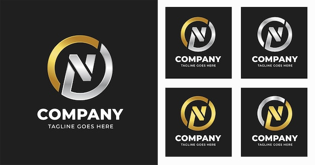 Letter n logo design template with circle shape style