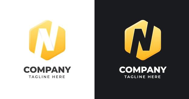 幾何学的形状スタイルの文字nロゴデザインテンプレート