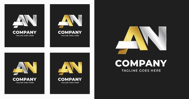 Letter a n logo design template