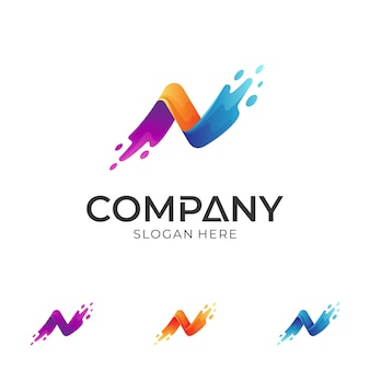 Letter n logo design template