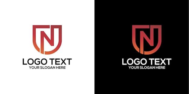 文字nロゴデザインベクトルプレミアムベクトル