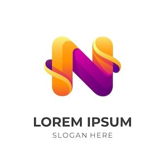 Буква n дизайн логотипа вектор с 3d стиль фиолетового и оранжевого цвета