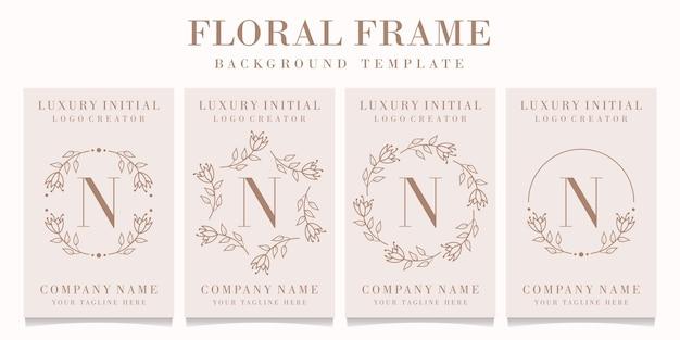 Letter n logo design with floral frame template