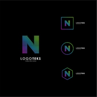 文字nロゴアイコンデザインテンプレート要素