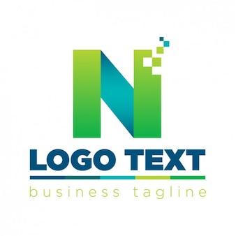 Письмо n логотип в технологическом стиле